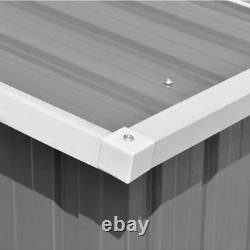 VidaXL Garden Shed 257x580x181cm Metal Grey Outdoor Tool Storage House Cabin