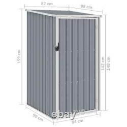 VidaXL Garden Shed Grey Galvanised Steel Outdoor Tool Equipment Storage House