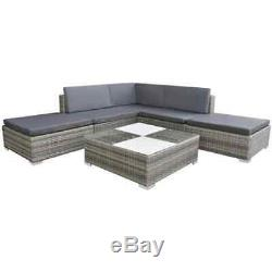 VidaXL Garden Sofa Set 15 Piece Poly Rattan Grey Outdoor Patio Furniture Seat