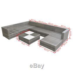 VidaXL Garden Sofa Set 24 Piece Poly Rattan Grey Outdoor Patio Furniture Seat