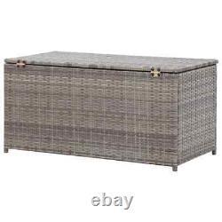 VidaXL Garden Storage Box Poly Rattan 100x50x50cm Grey Patio Storage Chest