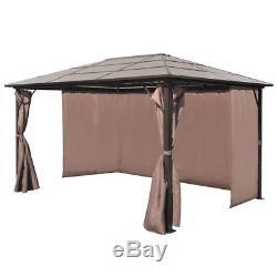 VidaXL Gazebo with Curtain Garden Shelter Tent Canopy Brown Aluminium 2 Sizes