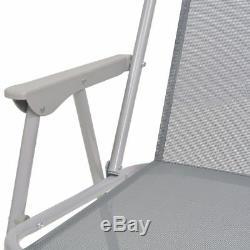 VidaXL Outdoor Dining Set 6/8 Piece Textilene Grey Garden Table Chair Umbrella