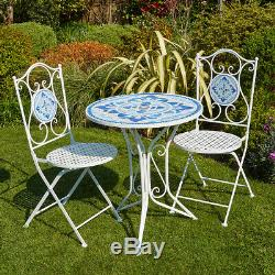 White Blue Mosaic Bistro Set Outdoor Patio Garden Table and 2 Chairs Metal Frame