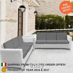 White Rattan Garden Furniture Corner Sofa Set Outdoor Conservatory Patio Wicker