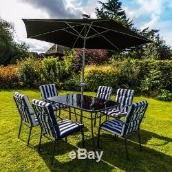 Wido 8 PIECE OUTDOOR GARDEN FURNITURE SET PADDED CUSHIONS CHAIR TABLE & PARASOL