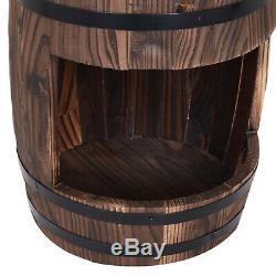 Wood Barrel Pump Fountain Water Feature with Flower Planter Garden Decor