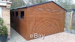 Wood Effect Metal Garage for Car, Motorbike Shed, Garden Equipment 13x18ft