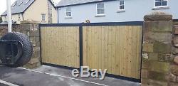 Wood Panel Metal Steel Frame Gates Driveway Garden Road Galvanised Composite