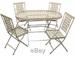 Woodside Folding Metal Outdoor Garden Patio Dining Table And 4 Chairs Set