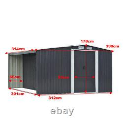 XLarge Storage Garden Shed 10x8 Galvanised Metal Tool House with Log Store Room