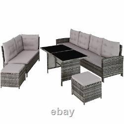 Xxl high quality robust barletta rattan garden furniture set light grey