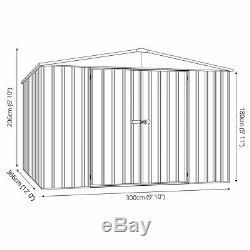 10x12 Absco De Jardin En Métal Gris Titane Shed Stockage Double Porte Apex 10ft 12ft