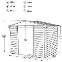 10x12 Metal Cabanons Yardmaster Abri 10ft X 12ft Apex Plancher De Stockage Gutters
