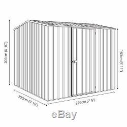 10x8 Absco Metal Storage Hangar Argent Facile De Construction Simple Porte Apex 10ft 8ft