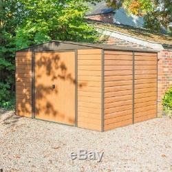 10x8 Apex Shed Metal Garden Acier Stockage Magasin Brun Double Portes 10 Pi X 8 Pi