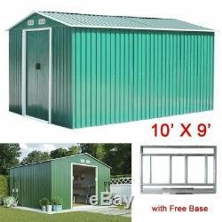 10x9ft De Jardin En Métal Abri Rangement Extérieur Maison A Outils Avec Free Wx