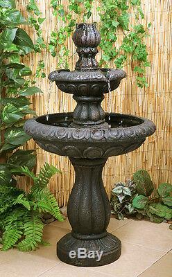 2 Niveau D'eau Fontaine Feature Cascade Classique Victorienne Effet Métallisé Jardin
