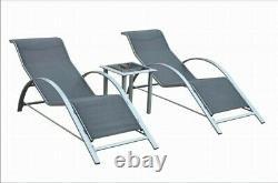 2x Salons De Soleil De Chaise Noire Avec Table D'appoint En Verre