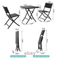 3 Pcs Pliant Bistro Set Garden Patio Rattan Table & 2 Chaises Set Meubles
