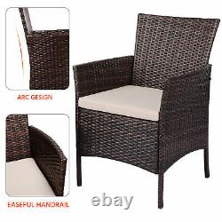 3 Pcs Rattan Garden Furniture Set Patio Bistro Sets Ding Table Chaises De Jardin