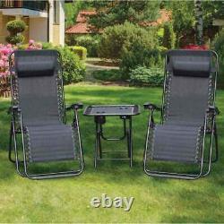 3 Pièces Zero Gravity Reclining Garden Patio Deck Chaise Sun Lounder & Set De Table