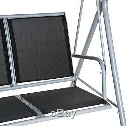 3 Seater Banc Swing Chaise De Jardin Extérieur Salon Suspendu En Métal Canopy Noir