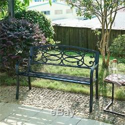3 Seater Fonte Jardin Extérieur W Volutes Retour Parc Banquette Meubles