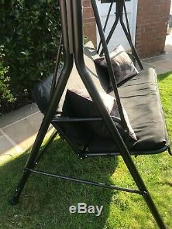 3 Seater Jardin Noir Chaise Swing Seat Hamac Métal Livraison Rapide Mélangisme Gratuit