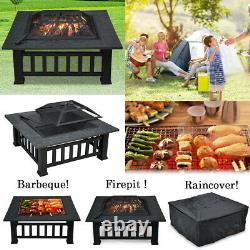 32'' Outdoor Garden Bbq Fire Pit Large Firepit Brazier Square Stove Patio Heater