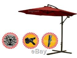 3m Cantilever Parasol Hanging Parasol Bistro Sun Shade Canopy Wu30r