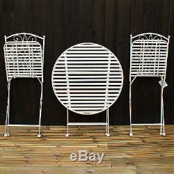3pc Bistro Folding Set Ronde En Métal Table Et 2 Chaises D'extérieur Jardin Patio Set Nouveau