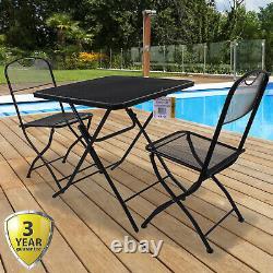3pc Pliant Bistro Set Jardin Extérieur Patio Meubles Table Et 2 Chaises Siège