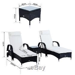3pc Rotin Chaise Longue En Osier Canapé Lit De Jour Inclinable Meubles Jardin Patio Noir