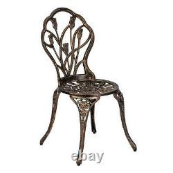 3pcs Bistro Set Extérieur Jardin Patio Chaises De Table Meubles D'art En Aluminium Moulé