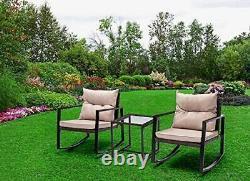 3pcs Rattan Garden Meubles Extérieurs Ensemble Chaises Berçantes Table- Rocky