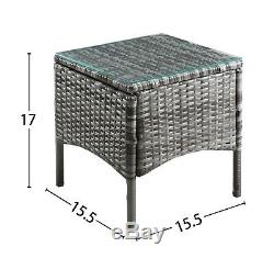 3pcs Rotin Jardin Canne Chaises Trempé Table Basse Ensemble Mobilier D'extérieur Patio