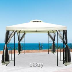 3x3m Jardin Extérieur Gazebo Taud Ombre Pavillon Canopy Avec Moustiquaire