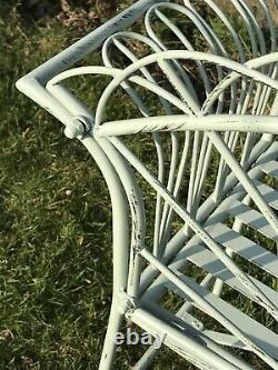 4' Arched Light Sage Vert 2 Seater Garden Tablette En Métal Assiette En Fer Forgé Style