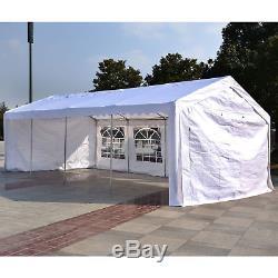 4 MX 8 M Gazebo Imperméable À L'eau En Plein Air Jardin Chapiteau Canopy Party Tente Blanc
