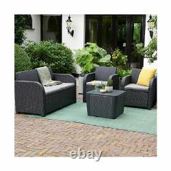 4 Pièce Rattan Garden Set Furniture Chairs Sofa Coffee Table Patio Conservatory