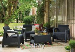 4 Pièces Keter Rattan Garden Set Meubles Chaises Canapé Table Patio Conservatoire