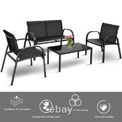 4 Pièces Meubles De Jardin Bistro Set Patio Conversation Table Chaise Set Piscine