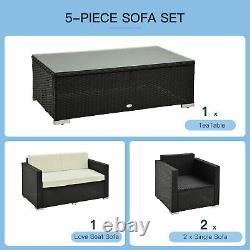 4 Pièces Rattan Canapé Set Chaise Meubles De Siège Patio Wicker Steel Black Garden