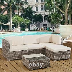 4 Sièges Extérieur Sofa Mobilier De Jardin En Rotin Ensemble Grey Cannes