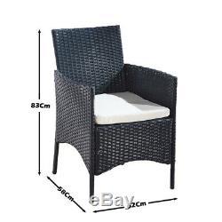4pcs Rotin Chaises De Jardin Meubles Salle À Manger Chaises Canne Chaises Extérieur Noir