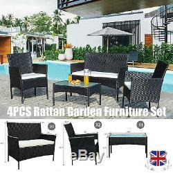 4pcs Rotin Extérieur Meubles De Jardin Ensemble Chaise Table Basse Canapé Patio Jardin Piscine