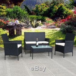 4pcs Rotin Extérieur Meubles De Jardin Ensemble Table Chaise En Osier Canapé Patio Cour Piscine