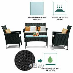 4pcs Rotin Meuble De Jardin Table Canapé Chaise Table D'extérieur Ensemble De Patio De Jardin