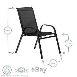 4x Texteline Canvas Chair Jardin Patio Extérieur Café Bistro Meubles Noir